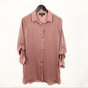Lulus Blush Mauve Button Down Tunic Shirt Dress